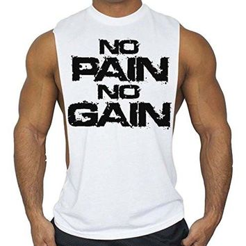 Workout T-Shirt Bodybuilding Tank Top White S-3XL No Pain No Gain