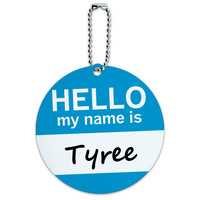Tyree Hello My Name Is Round ID Card Luggage Tag
