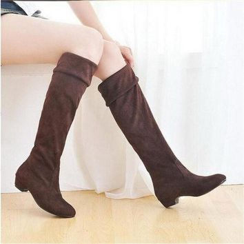 ONETOW Fashion Women Spring Boots Over Knee High Long Boots Black Brown Flat Suede Shoes = 1946088964