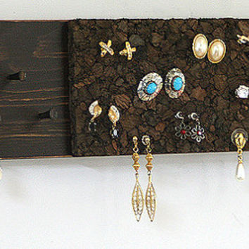 Jewelry Organizer Wall Jewelry Holder Rustic Brown Post Stud Pierced Earring Holder Necklace Holder