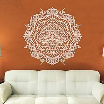 Mandala Wall Decal Yoga Studio Vinyl Sticker Decals Ornament Moroccan Pattern Namaste Lotus Flower Home Decor Boho Bohemian Bedroom NV13 (17x17)