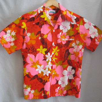 Vintage 60s 70s SURFER Hawaiian Print SHIRT Mod Cotton BARKCLOTH Flower Power Medium