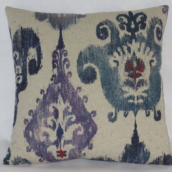 "Blue Purple Teal Ikat Pillow Cover, Beige Tan Natural, Tribal, Ethnic, Boho,  17"" Square Cotton / Rayon, Ready to Ship"