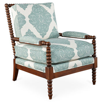Bankwood Spindle Chair, Teal/White, Accent & Occasional Chairs