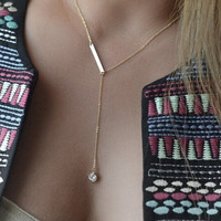 Elegant Vogue Golden Crystal Long Simple Necklace Trendy = 1958230980