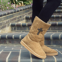 Cross studded Faux Ugg boots