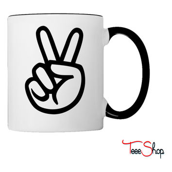 peace sign hand Coffee & Tea Mug