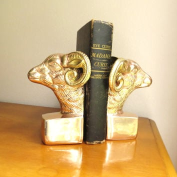 Vintage Brass Ram Bookends, Hollywood Regency, Gold Bookends, Goat Bookends, Mid Century, Polished Brass Bookends