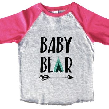 Baby Bear Boys Baseball Raglan 3/4 sleeve Soft Tee
