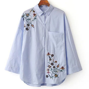 Women Embroidery Blouse Shirt Top Long Sleeve Cotton Turn-down Collar Vintage Solid Spring Blusas Blue