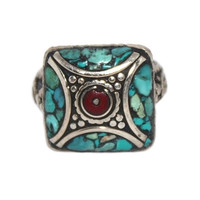 Square Boho Turquoise Coral ring