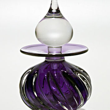 Twisted Square Rib Perfume Bottle Grape by Michael Trimpol Monique LaJeunesse: Art Glass Perfume Bottle | Artful Home