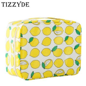 Character Fresh Lemon Woman Cosmetic Bag Large Beauty Professional Wash Necessaire Travel Toiletry Organizer Make up Bags MHM01