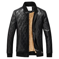 Winter Stand Collar Leather Jacket Men Slim Fit