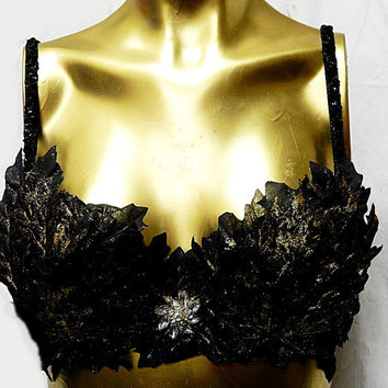 Sexy Hot Black/GOLDEN Leaf Bra /Goddess/Eve/Cleopatra SALE  34-36 B/C