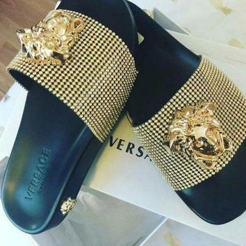 Gotopfashion Versace Trending Women Men Fashion Casual Slipper Shoes Golden I