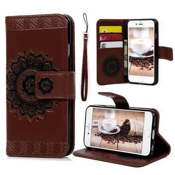 DCCKRQ5 iPhone 6S 6 Wallet Case 4.7 inch, YOKIRIN PU Leather Henna Mandala 3D Relief Floral Embossed Folio Flip Full Protective Cover with Credit Card Holder Kickstand Magnetic Closure for iPhone 6 6S, Brown