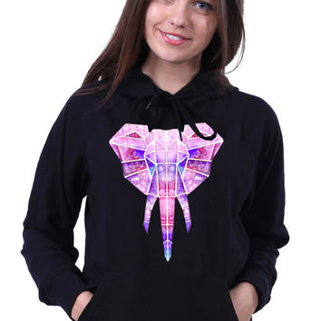 Geometric Elephant Head Sweatshirt Watercolor Animal Abstract Triangle Art Design Hoodie Jumper