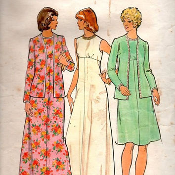 Butterick Retro 70s Sewing Pattern Maxi Floor Length Evening Gown High Waist A-line Cocktail Dress Jacket Plus Size Bust 41
