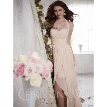 Christina Wu 22700 Chiffon Halter High Low Bridesmaid Dress