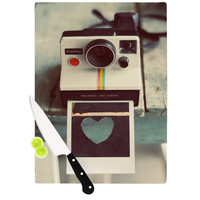 "Cristina Mitchell ""Polaroid Love"" Teal Camera Cutting Board"