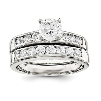 Sterling Silver 2 Piece CZ Round Channel Set Promise Wedding Ring Set