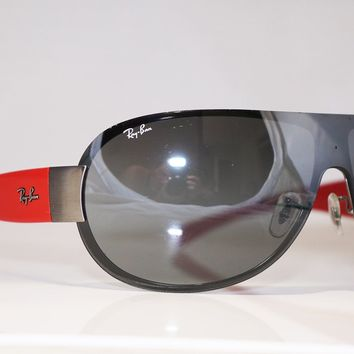 RAY-BAN Mens Designer Sunglasses Red Shield RB 3350 004/88 16255