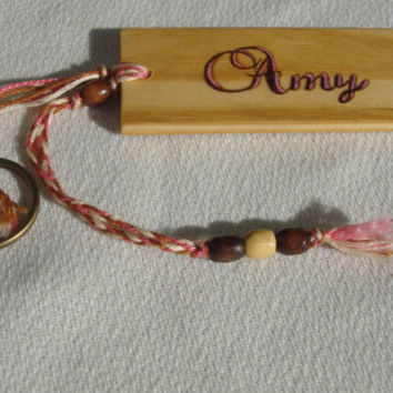 Wood Burned Name and Diva Pine Key Tag with Braid,Beads and Antiqued Brass Split Ring