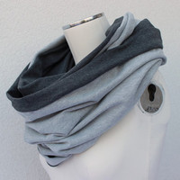 Gray Reversible Scarf - Gray Circle Jersey Scarf - Long Gray Jersey Loop - Dark Gray Eternity Cowl - Heather Gray Infinity Scarf