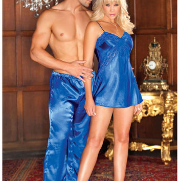 iCollection Lingerie Satin Chemise With Lace Criss-Cross Front And Low Cut Tie Back Detail pajama