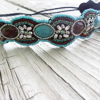 Beaded floral headband, boho beaded, Turquoise and brown seed beaded hair band, elastic headband non slip stone BRIDAL head piece