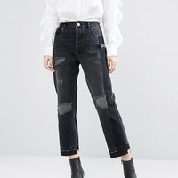 ASOS Denim Deconstructed Straight Leg Jeans in Black at asos.com