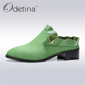 Odetina 2017 Fashion Women Chunky Heel Pumps Genuine Leather Slip on Ruffles Shoes Ladies Slingback Mules Mid Heels Big Size 42