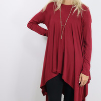 Mountain Breeze Wine Trapeze Tunic with Handkerchief Hem
