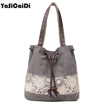 Women Floral Canvas Bucket Casual Shoulder Bag Spanish Beach Bags Women String Shopping Handbags Lace Printing Bag Female Bolso