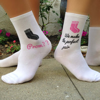 Promposal Socks, Perfect Pair, Prom Date, Homecoming, Ask To Prom Idea, Set of 3 - Custom Printed White Cotton Ladies Crew Socks