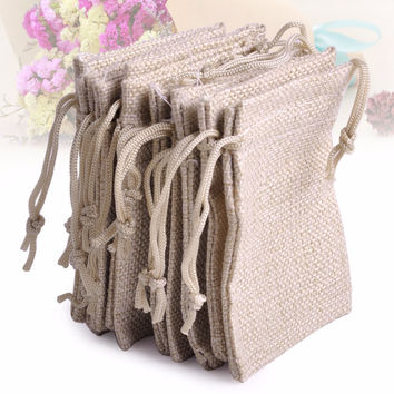 10PCS 6.5x9cm (2.56 x 3.54 inch) Small Burlap Linen Jute Sack Pouch Bag Drawstring Jewelry Gift Beads Jewelry Wedding Favor Bags