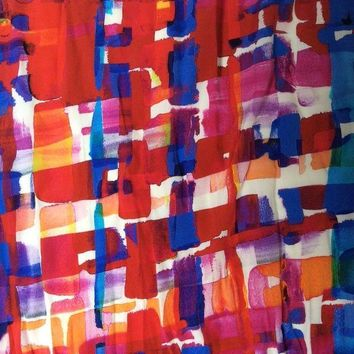 DCK4S2 Chanel silk scarf with colourfulbright blue and red abstract design