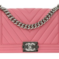 Chanel Pink Chevron Lambskin Leather Old Medium Boy Bag | Chanel Consignment | Designer Vault