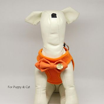 Puppy harness with bow tie, Carrot bow,Love and Beloved, Mesh harness, Lightweight, Breathable, Comfortable,Washable harness,Custom harness