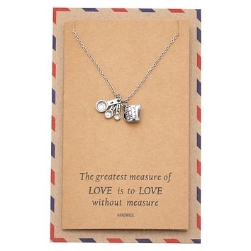 Laura Kitchen Charm Necklace, Inspirational Card, Gifts for Bakers