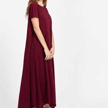 Burgundy Short Sleeve Tent Dress With Hidden Pocket