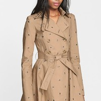 Women's RED Valentino Grommet Detail Double Breasted Flared Trench Coat,