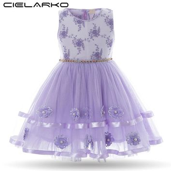 Cielarko Girls Dress Flower Baby Birthday Dresses Vintage Princess Pearls Children Formal Frocks Kids Party Clothes for Girl