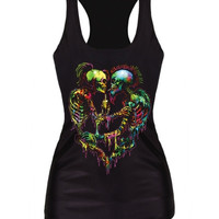 Fashion Digital Print Gothic Steampunk Theme Punk Couple Tank Top Bodysuit Clubwear (Size: M, Color: Black) = 5617300993