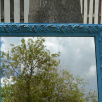 Large Blue Decorative Wall Blue & Gold Mirror