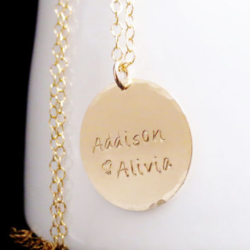 Personalized Large Gold Disc Necklace, Hammered Edge Name Necklace, Date Jewelry, Hand Stamped,