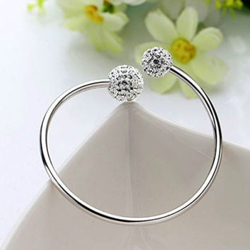 New Luxury Fashion Women 925 Sterling Silver Cuff Bangle Chain Bracelet Jewelry