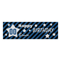 ANY YEAR Birthday Star Banner BLUE STRIPES STARS 5 Print
