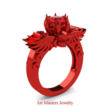 Art Masters Classic Winged Skull 14K Red Gold 1.0 Ct Rubies Solitaire Engagement Ring R613-14KRGR